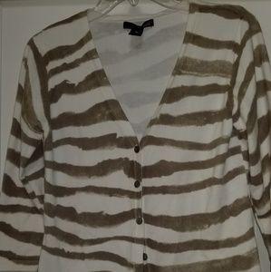 Willi Smith Tan and White Stripe Cardigan, Size M